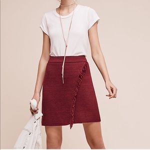 NWT Anthropologie Maeve Red Fringe Wrap Skirt